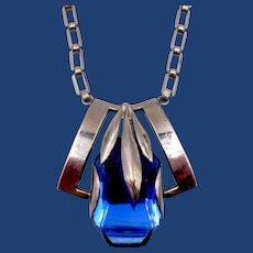 Vintage Deco Machine Age Chrome Blue Glass Necklace