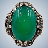 Vintage Sterling Chrysoprase Marcasite Ring Size 6.5