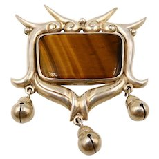 Vintage Margarita Taxco Mexico Sterling Tiger Eye Birds Brooch
