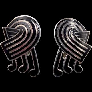 Vintage Margot de Taxco Mexico Sterling Black Enamel Musical Notes Earrings