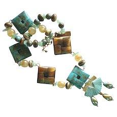Maya Evangelista Metal and Stone Necklace