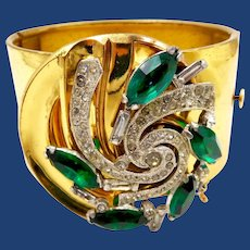 Vintage McClelland Barclay Wide Green Rhinestone Clamper Bracelet