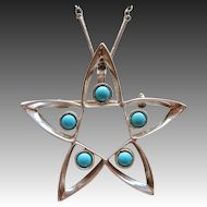 Mexico Sterling Silver Taxco & Faux Turquoise Star Pin Pendant
