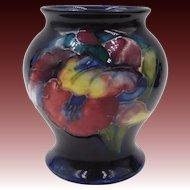 1920s William Moorcroft Orchid Mini Vase Cobalt Blue