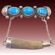 Vintage Native American Navajo Sterling Turquoise Antler Tie Clip