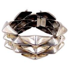 Vintage 1940s Boucher Parisina Mexico Sterling Modernist Bracelet