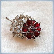 Pennino Red Crystal and Rhinestone Floral Brooch