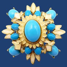 Vintage Polcini Faux Turquoise and Enamel Brooch