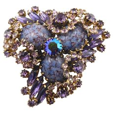 Vintage Purple Rhinestone Blue Art Glass Brooch