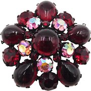 Vintage Red Unsigned Regency Glass Cabochon and AB Rhinestone Brooch