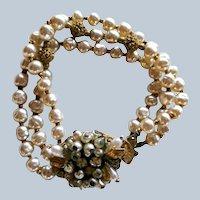 Original by Robert 3 Strand Faux Baroque Pearl Bracelet