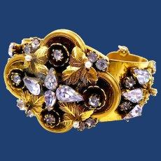 Vintage Unsigned Sandor Alexandrite Rhinestone Clamper Bracelet
