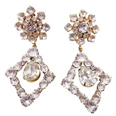 Huge Schreiner Clear Rhinestone Chandelier Clip Earrings