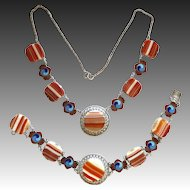 Vintage Sterling Art Deco Scottish Banded Agate Enamel Necklace and Bracelet Set