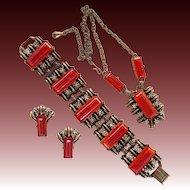 Selro style burnt orange and rhinestone Necklace Bracelet Earrings Set