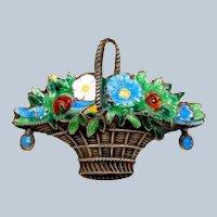 Victorian Silver Enamel Flower Basket Brooch