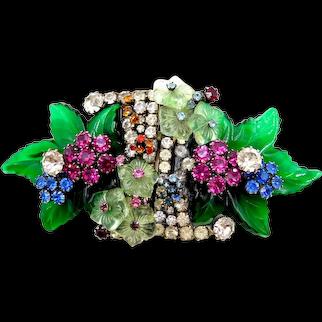 Vintage Robert Sorrell Glass Leaves Flowers Rhinestone Dress Clips Duette