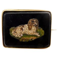 Antique Victorian 14K Gold King Charles Spaniel Micro-Mosaic Brooch