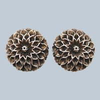 Vintage Sterling Silver Dahlia Flower Clip Earrings