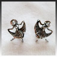 Germany Sterling Silver Marcasite Ballet Dancer Clip Earrings