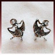 Germany Sterling Silver Marcasite Ballet Dancer Clip Earrings