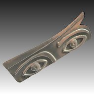 Vintage Modernist Sterling Silver Eyes Brooch Artisan Made