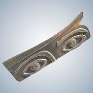 Vintage Modernist Sterling Silver Eyes Brooch Artisan Made