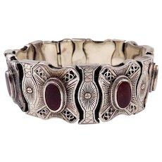 Vintage Danish Sterling Silver Carnelian Slide Bracelet Erik Poul Fenster EPF