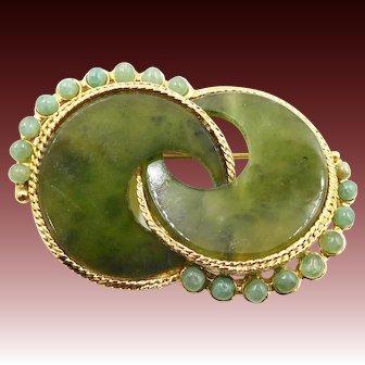 Vintage Swoboda Green Nephrite Jade Modern Style Brooch