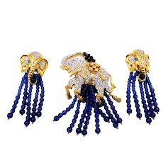 Vintage E. Taylor for Avon Elephant Walk Rhinestone Brooch and Earrings with Boxes