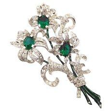 Vintage Trifari Green Clear Rhinestone Enamel Floral Fur Clip - Red Tag Sale Item