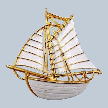 Huge Trifari White Enamel Sailboat Schooner Brooch