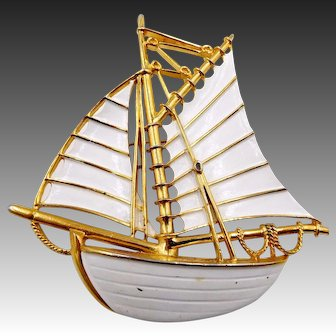 Huge Trifari White Enamel Sailboat Schooner Brooch