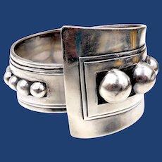 Alfredo Villasana Mexico Taxco Sterling Clamper Bracelet with Spheres 1940s