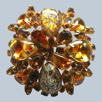 Weiss Topaz Rhinestone and Cat Eye Foil Art Glass Brooch