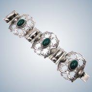 Vintage Wide Mexican Sterling Green Onyx Bracelet ASM Cuernavaca 1940s