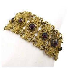 Vintage Brass Faux Amethyst Purple Glass Jewels Bracelet