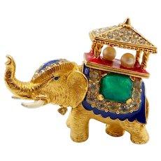 Vintage Ciner Rhinestone Faux Pearl Elephant with Howdah Brooch