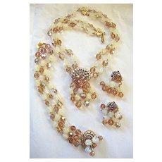 Austrian crystal, glass beads, and rhinestone necklace bracelet earrings set DeMario style!