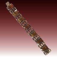 Art Deco style brass and faux topaz stone bracelet