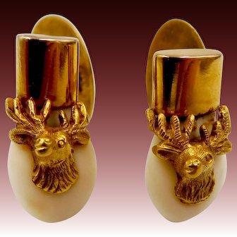 Vintage 14k 18k Gold Elk Tooth Cufflinks BPOE