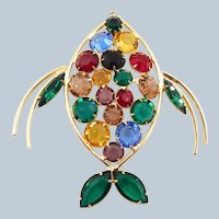 Vintage Colorful Crystals Fish Pendant