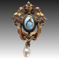 Gorgeous Victorian Serpents & Pearl Brooch