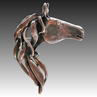 Sterling Horse Head Figural Pin Pendant