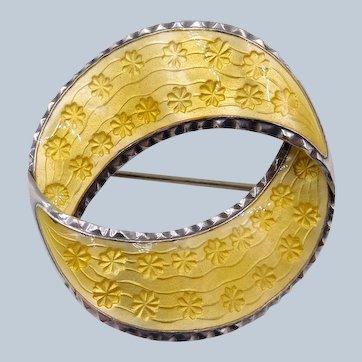 Vintage Norway Andresen Scheinpflug TYA Yellow Enamel Sterling Circle Brooch
