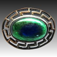 Vintage Art Deco Era Sterling Peacock Eye Pin