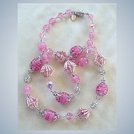 Luscious pink glass beads, crystal, and rhinestone Vendome necklace
