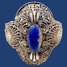 Ornate Silver Plated Filigree Scrollwork Appliqué Lapis Bracelet