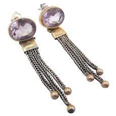 Sterling Vermeil Amethyst Dangle Pierced Earrings