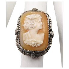 Vintage Sterling Shell Cameo Pinky Ring Size 4